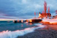 Winter Sunset at Point Betsie Lighthouse