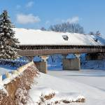 """Snow Covered Wooden Bridge on a Winter Day"" by sterk"