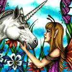 """Fairy and Unicorn in Color"" by TASillustrations"