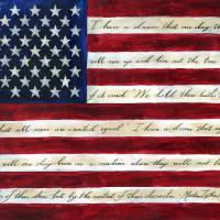I Have a Dream Flag Faux Encaustic 2014 Art Prints & Posters by Caitlin Dundon