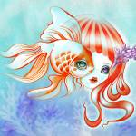 """Dreamland Muses - Jellyfish Girl & Goldfish"" by sandygrafik_arts"