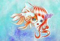 Dreamland Muses - Jellyfish Girl & Goldfish