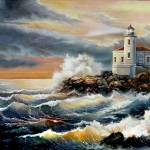 """""""coquille Oregon lighthousunder stormy sky"""" by Unique_designs"""