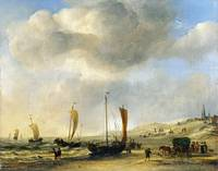 Willem van de Velde - The Shore at Scheveningen