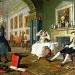 """William Hogarth - Marriage A-la-Mode - 2, The Tete"" by ArtLoversOnline"