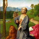 """Workshop of Gerard David - Saint Jerome in a Lands"" by ArtLoversOnline"