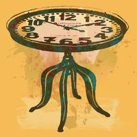 Classical Clock Table Stylized Pop Art Poster