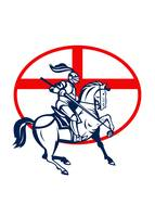 English Knight Riding Horse England Flag Circle Re