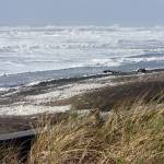 """Stormy Ocean Beach in the Winter"" by Sonja"