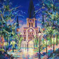 Jackson Square, Night Garden Art Prints & Posters by Elaine Adel Cummins