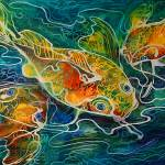 """BATIK-KOI PLAY"" by MBaldwinFineArt2006"