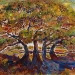 """TREES of LIFE BATIK on CANVAS"" by MBaldwinFineArt2006"