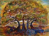 TREES of LIFE BATIK on CANVAS