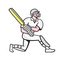 Cricket Player Batsman Batting Kneel Cartoon