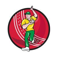 Cricket Fast Bowler Bowling Ball Front Cartoon