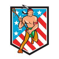Native American Lacrosse Player Stars Stripes Shie