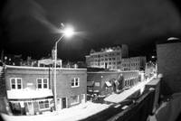 Downtown Harrisonburg after snow in the dark