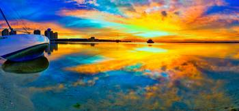 panoramic-beach-sunset-reflection-wall-art-print