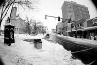 Court Square in Harrisonburg in snow