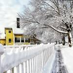 """Yellow House with Snow Covered Picket Fence"" by susansartgallery"