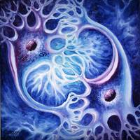 Neurons oil on canvas painting