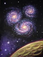 Galaxy trio painting - Trei galaxii - Pictura in t