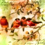 """Four Songbirds"" by bonniebruno"