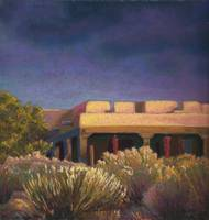 Santa Fe Adobe Light with Chamisa and Dark Clouds