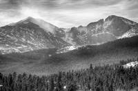 Longs Peak Winter View BW