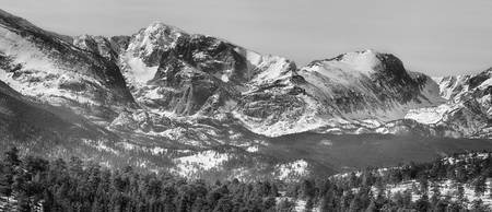 Ypsilon and Fairchild Mountain Pano RMNP BW