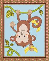 Curly Tails Monkey Art - Monkey Upside Down