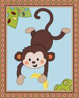 Curly Tails - Jumping Monkey Nursery Art