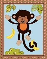Curly Tails Monkey Art - Happy, Jumping Monkey