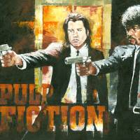 Samuel L Jackson & John Travolta Pulp Fiction Art Prints & Posters by Christiaan Bekker
