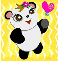 Cute Panda with a Heart Balloon