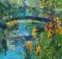 Monets bridge with Irises