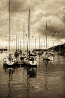 Sailboats in Rockport Harbor, MA (Sepia)