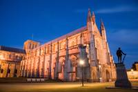Winchester Cathedral at dusk