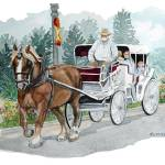 """Horse & Buggy"" by ClotheslineArt"
