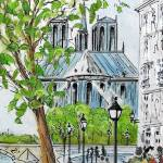 """paris notre dame cathedral"" by FradetFineArt"