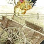 """Rooster on Wagon"" by ClotheslineArt"
