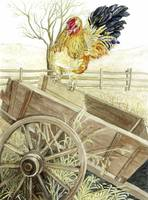 Rooster on Wagon