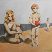 My sister and me at the sea Art Prints & Posters by federico cortese