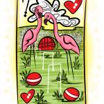 """3-2-14 Flamingo Croquet Card Finished"" by artinthegarage"