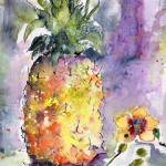 """Pineapple and Orchids Watercolor"" by GinetteCallaway"