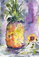 Pineapple and Orchids Watercolor