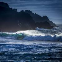 Wave Backlight in Do Rio Beach Galicia Spain