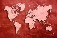 World map pink red