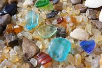 Blue Sea Glass Coastal Beach Petrified Wood Agates