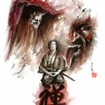 """Deamons-of-mind-samurai-meditation-artwork"" by japanese-painting-szmerdt"